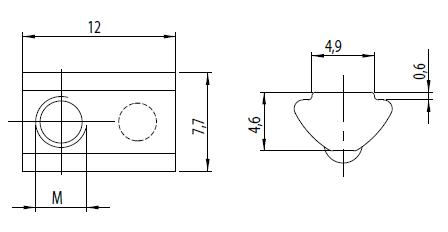 Nutenstein einschwenkbar M3 Nut 5 mit Kugel Image