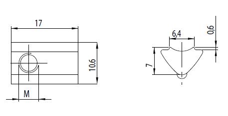 Nutenstein einschwenkbar M4 Nut 6 mit Kugel Image
