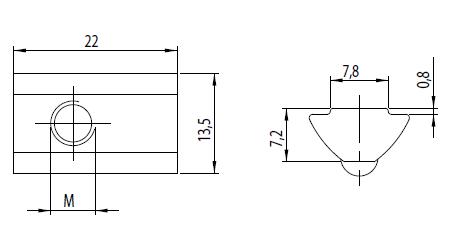 Nutenstein einschwenkbar M4 Nut 8 mit Kugel Image
