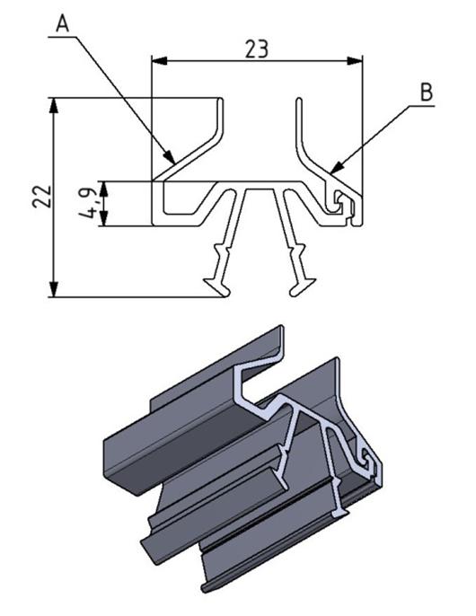 Schutzscheibenprofil (A) Nut 8/10 Image