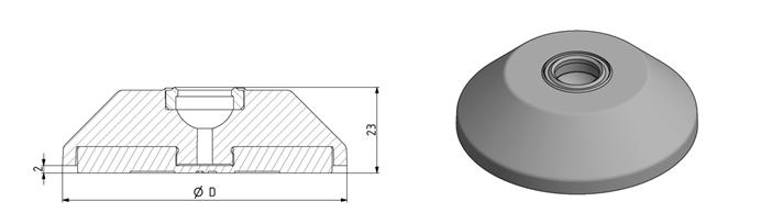 Trapezteller D60 - D80 mit Bohrung für Gelenkfuß Image
