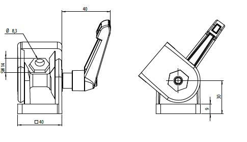Gelenk 40x40 Nut 10 ohne Klemmhebel Image