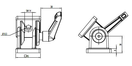 Gelenk 45x45 Nut 10 ohne Klemmhebel Image